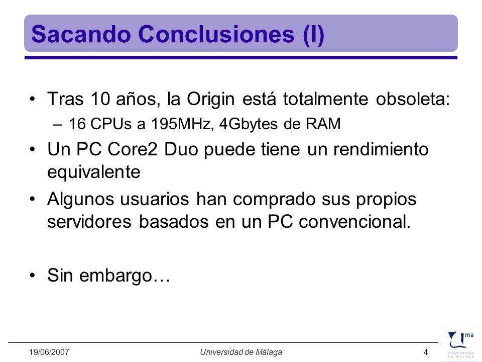 19/06/2007Universidad de Málaga15 Storage node Controller 300MB/s 14 512GB drives 7 TB 5 LUN RAID5 3 hot spare disks p615 FAST-T100 EXP100 p615 sATA drawer 14 512GB drives 7 TB GbE Fiberchannel (250MB/s) 2 CPUs