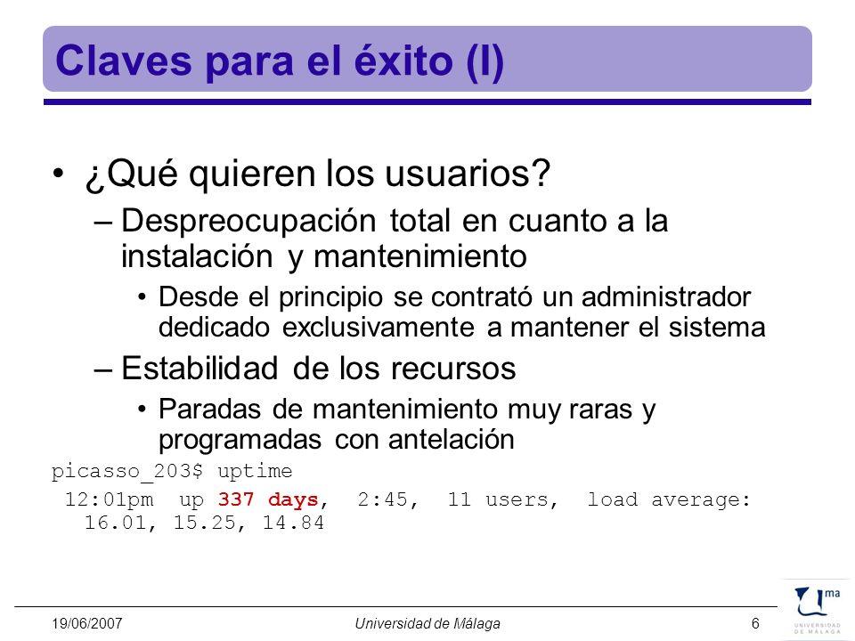 19/06/2007Universidad de Málaga17 Planificación Temporal El edificio ha sido entregado a finales de Mayo El IBM se termina de instalar el 11 de Julio –El comité de acceso ya ha asignado los usuarios de Málaga El SuperDome de HP se instalará tras el IBM Esperamos comenzar las operaciones hacia el público a principios se Septiembre