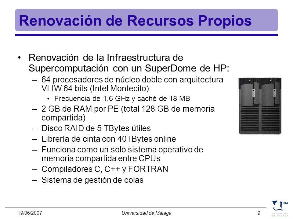 19/06/2007Universidad de Málaga9 Renovación de Recursos Propios Renovación de la Infraestructura de Supercomputación con un SuperDome de HP: –64 proce