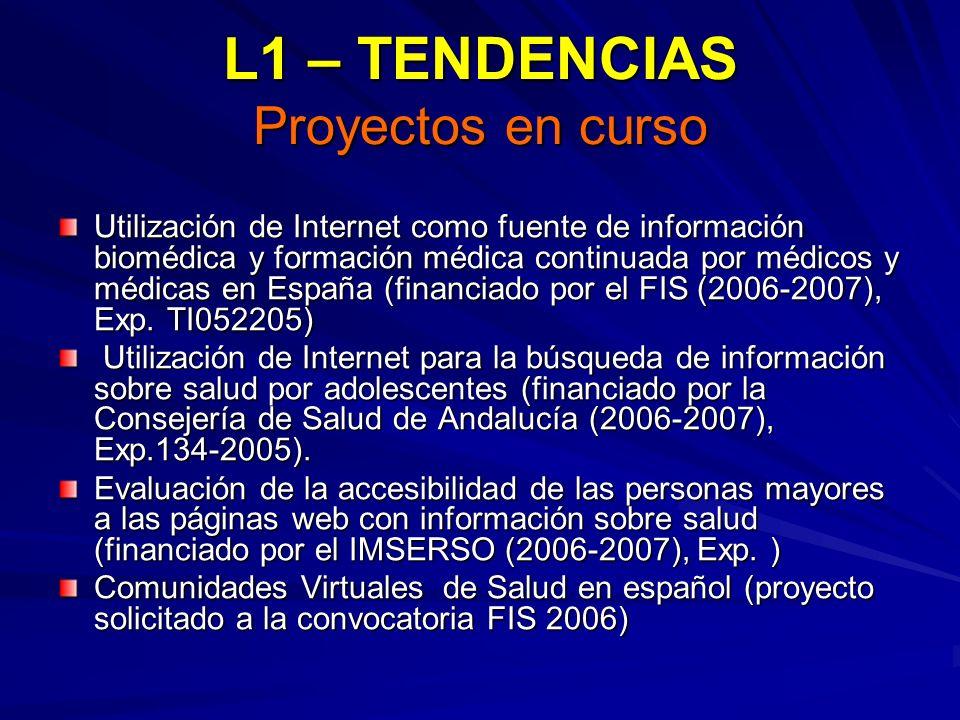 L1 – TENDENCIAS Proyectos en curso Utilización de Internet como fuente de información biomédica y formación médica continuada por médicos y médicas en