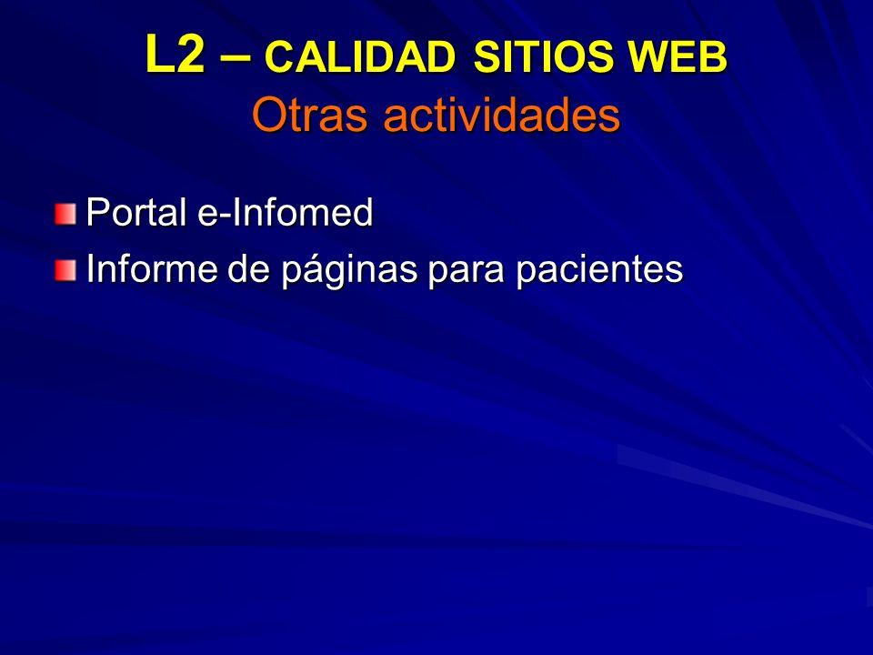 L2 – CALIDAD SITIOS WEB Otras actividades Portal e-Infomed Informe de páginas para pacientes
