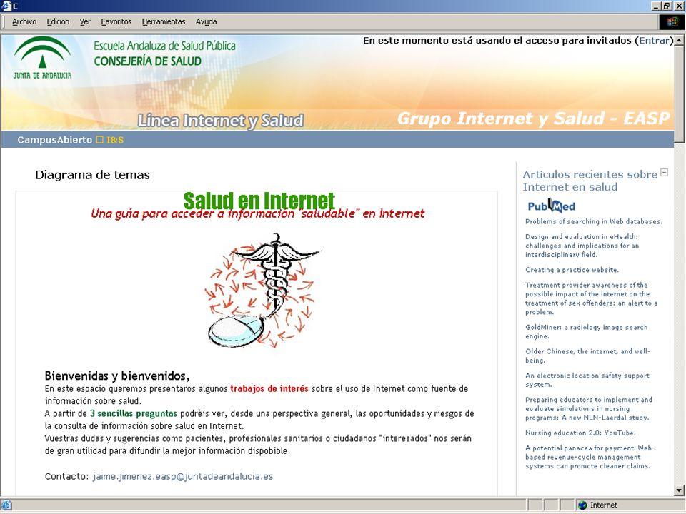 L1 – TENDENCIAS Proyectos en curso Utilización de Internet como fuente de información biomédica y formación médica continuada por médicos y médicas en España (financiado por el FIS (2006-2007), Exp.