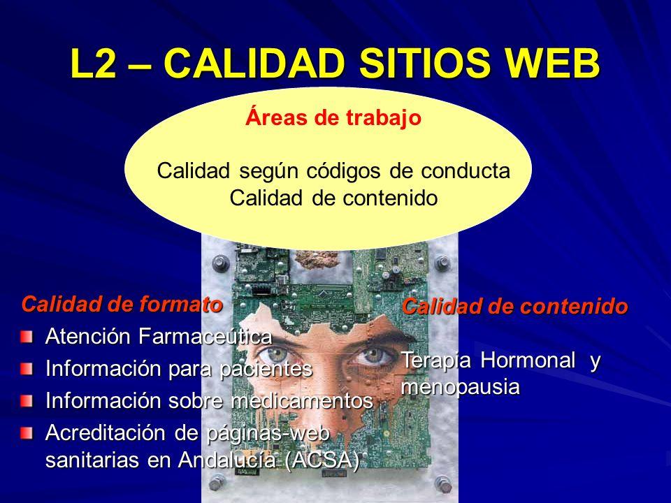 L2 – CALIDAD SITIOS WEB Calidad de formato Atención Farmaceútica Información para pacientes Información sobre medicamentos Acreditación de páginas-web