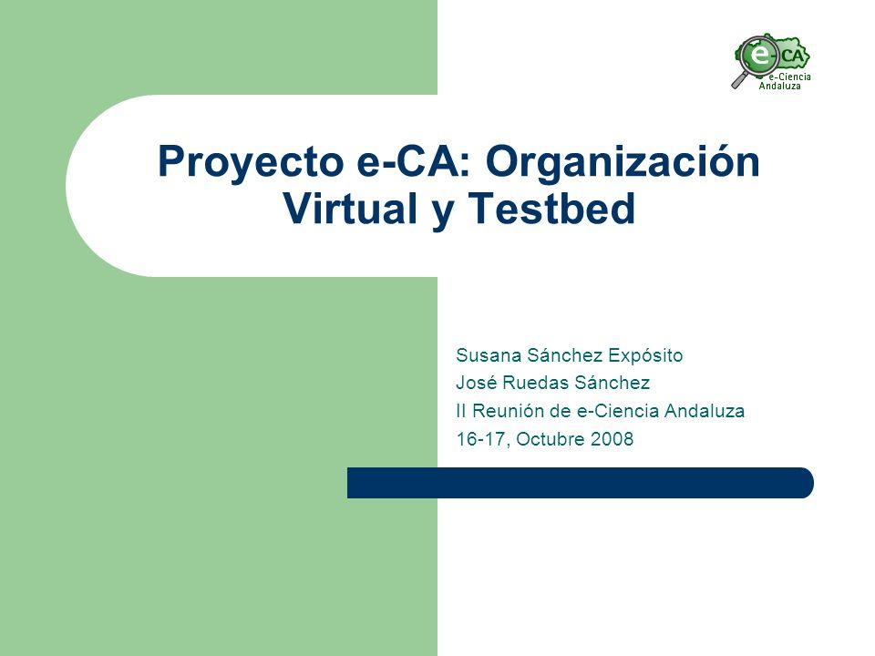 Proyecto e-CA: Organización Virtual y Testbed Susana Sánchez Expósito José Ruedas Sánchez II Reunión de e-Ciencia Andaluza 16-17, Octubre 2008