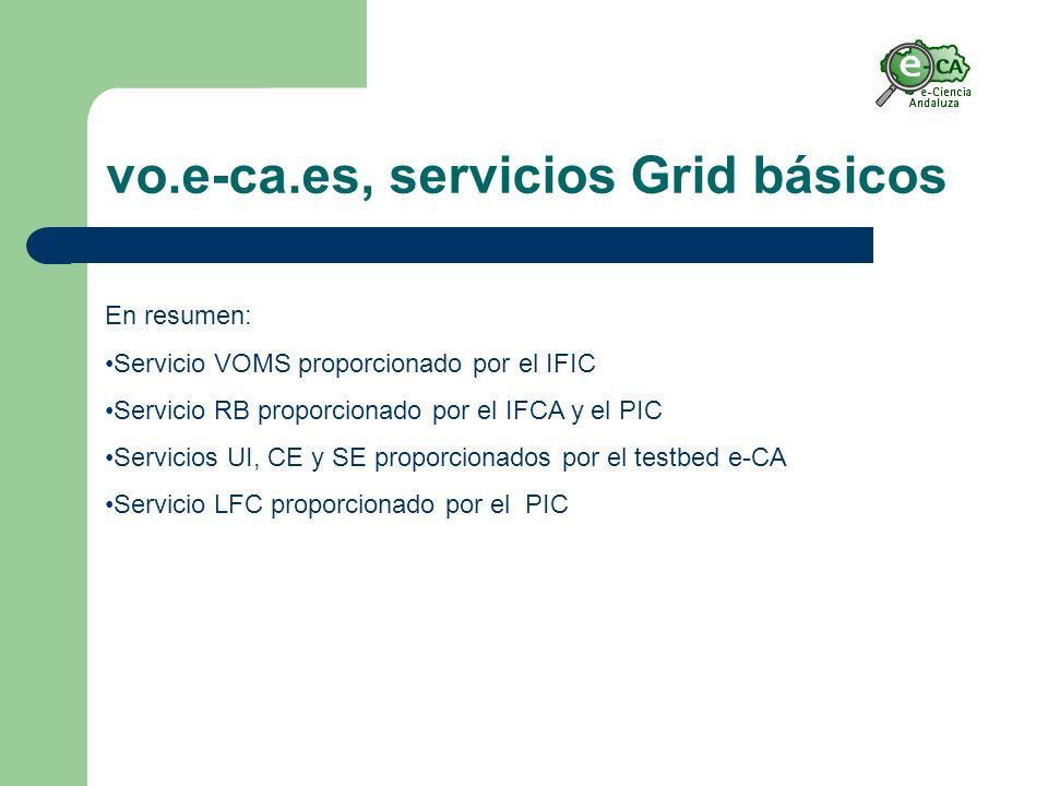 vo.e-ca.es, servicios Grid básicos En resumen: Servicio VOMS proporcionado por el IFIC Servicio RB proporcionado por el IFCA y el PIC Servicios UI, CE y SE proporcionados por el testbed e-CA Servicio LFC proporcionado por el PIC