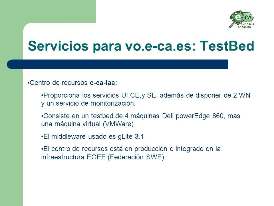 Servicios para vo.e-ca.es: TestBed Centro de recursos e-ca-iaa: Proporciona los servicios UI,CE,y SE, además de disponer de 2 WN y un servicio de monitorización.