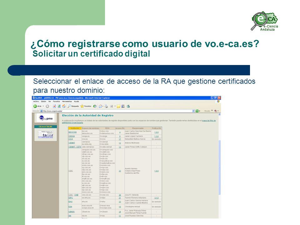 ¿Cómo registrarse como usuario de vo.e-ca.es.