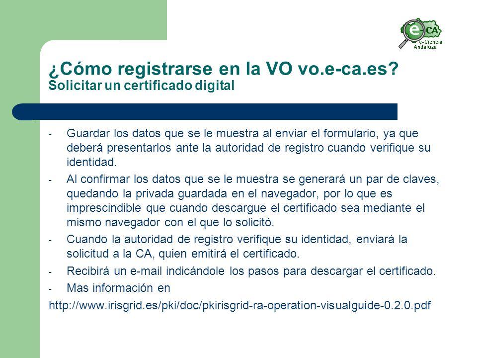 ¿Cómo registrarse en la VO vo.e-ca.es.