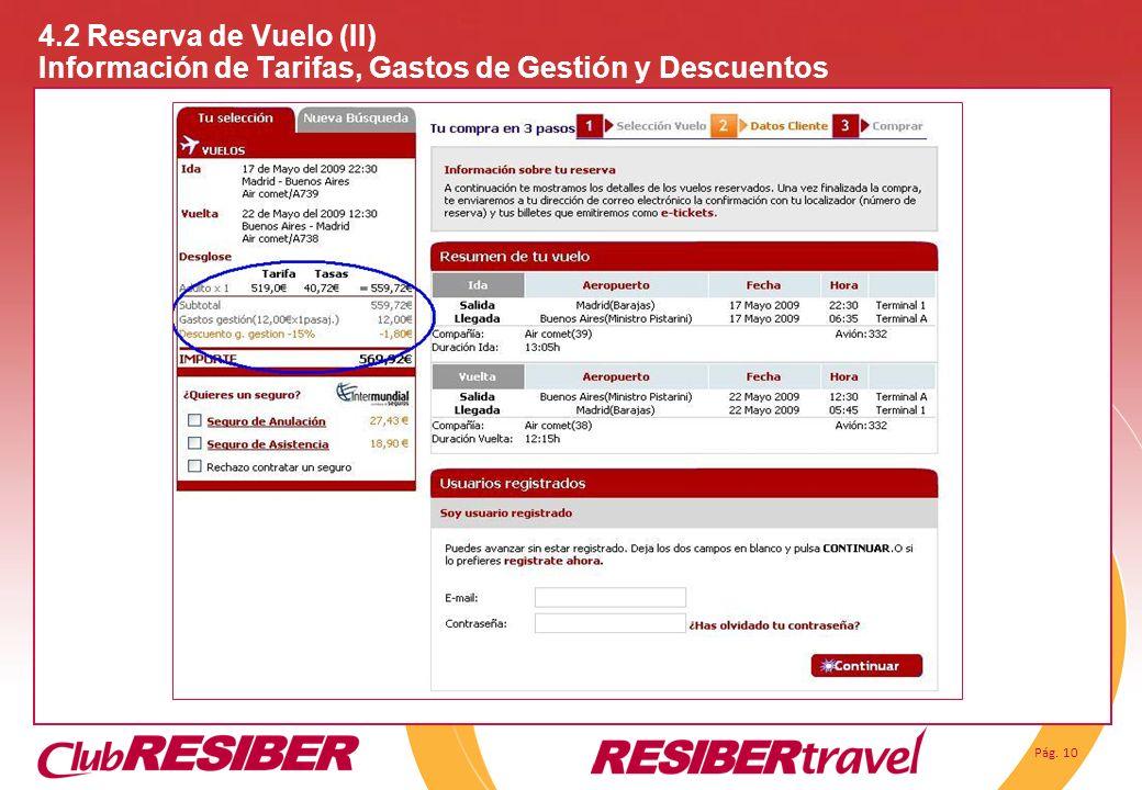 Pág. 10 4.2 Reserva de Vuelo (II) Información de Tarifas, Gastos de Gestión y Descuentos