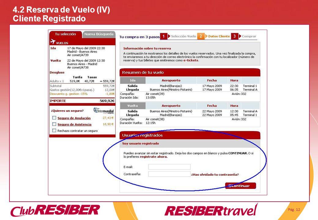 Pág. 12 4.2 Reserva de Vuelo (IV) Cliente Registrado