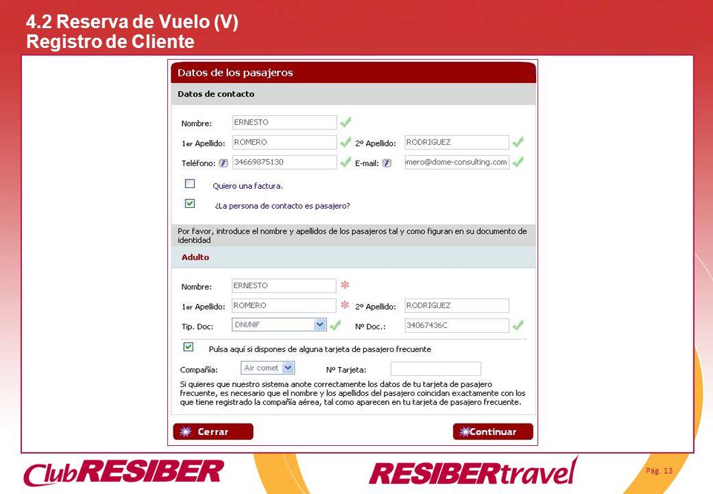 Pág. 13 4.2 Reserva de Vuelo (V) Registro de Cliente