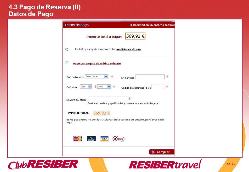 Pág. 15 4.3 Pago de Reserva (II) Datos de Pago