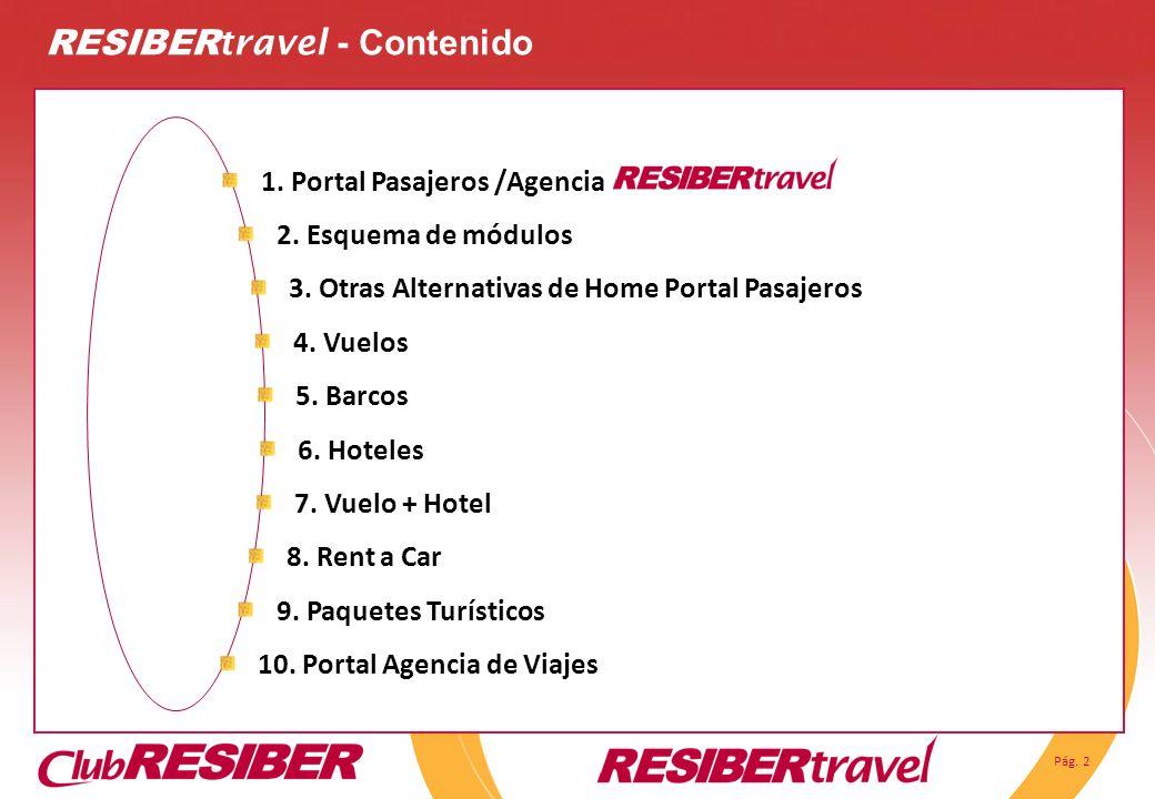 Pág. 2 RESIBER travel - Contenido 1. Portal Pasajeros /Agencia 3. Otras Alternativas de Home Portal Pasajeros 2. Esquema de módulos 4. Vuelos 5. Barco