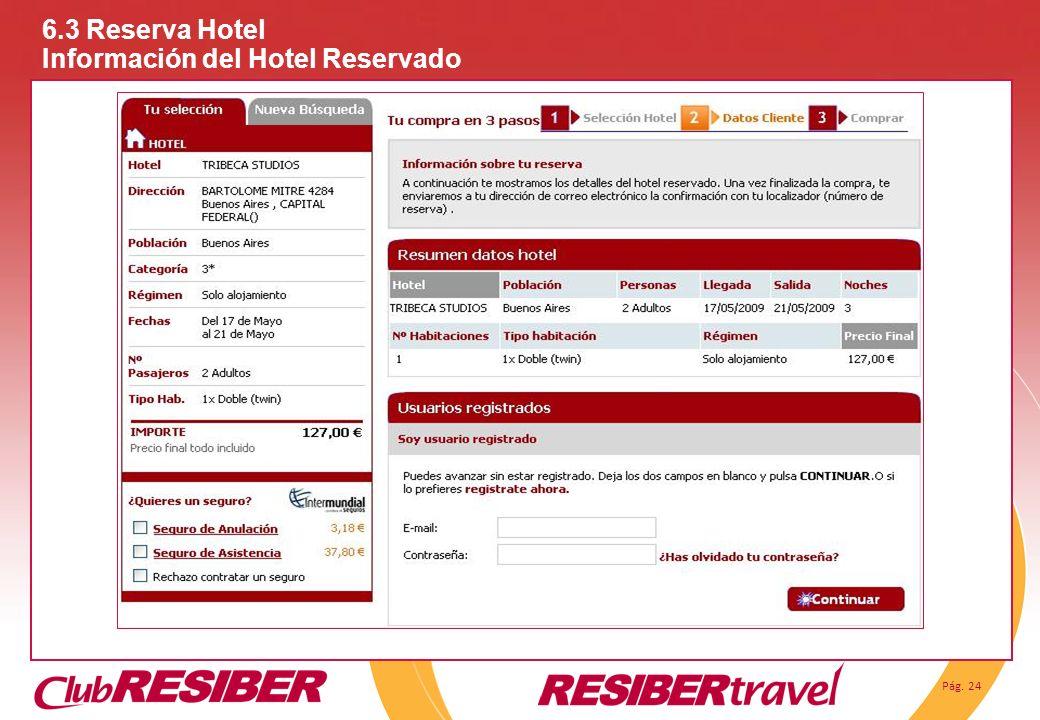 Pág. 24 6.3 Reserva Hotel Información del Hotel Reservado