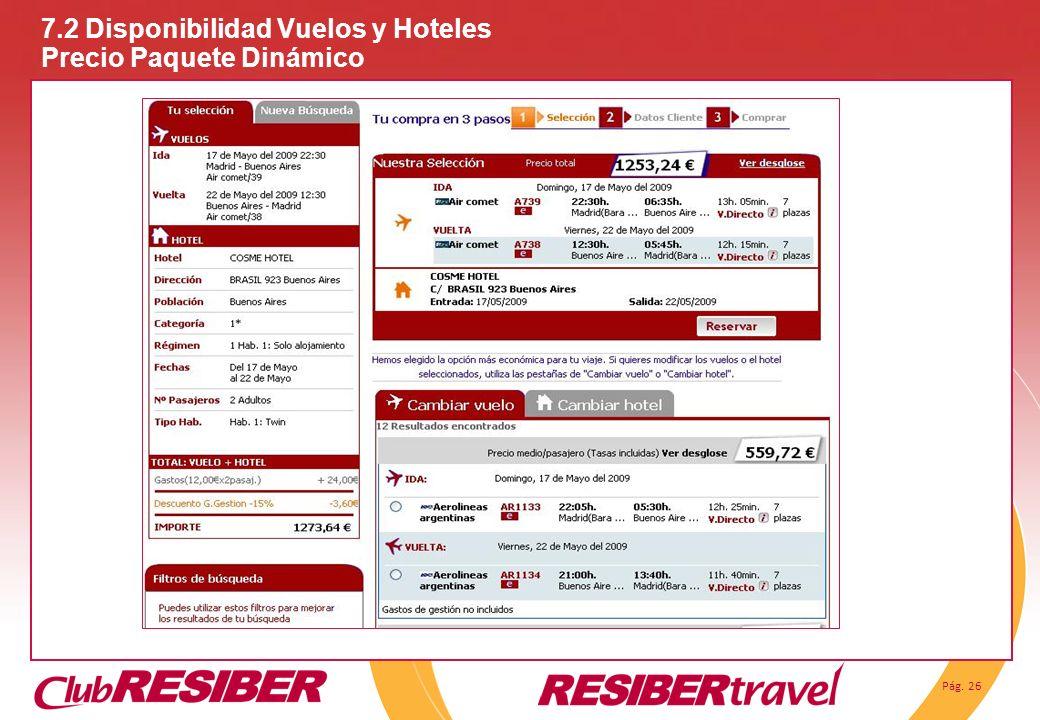 Pág. 26 7.2 Disponibilidad Vuelos y Hoteles Precio Paquete Dinámico