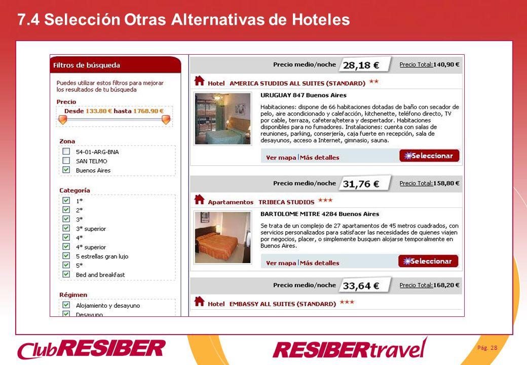 Pág. 28 7.4 Selección Otras Alternativas de Hoteles