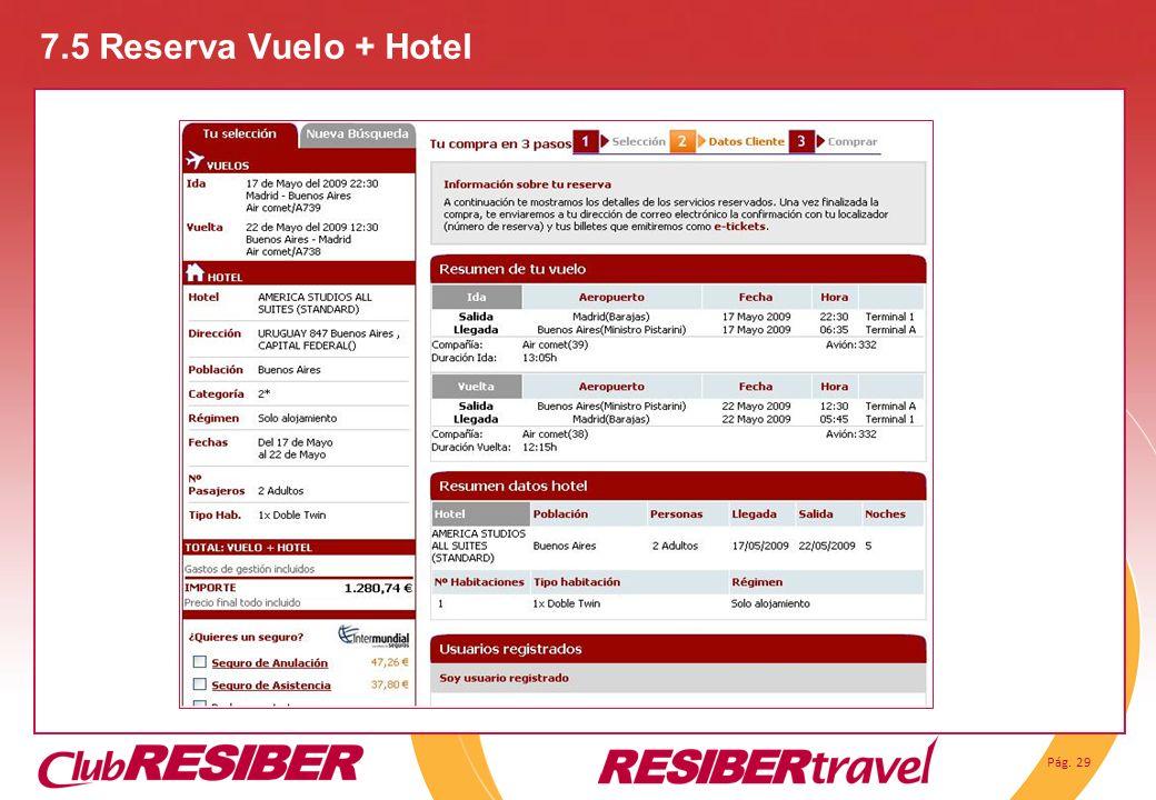 Pág. 29 7.5 Reserva Vuelo + Hotel