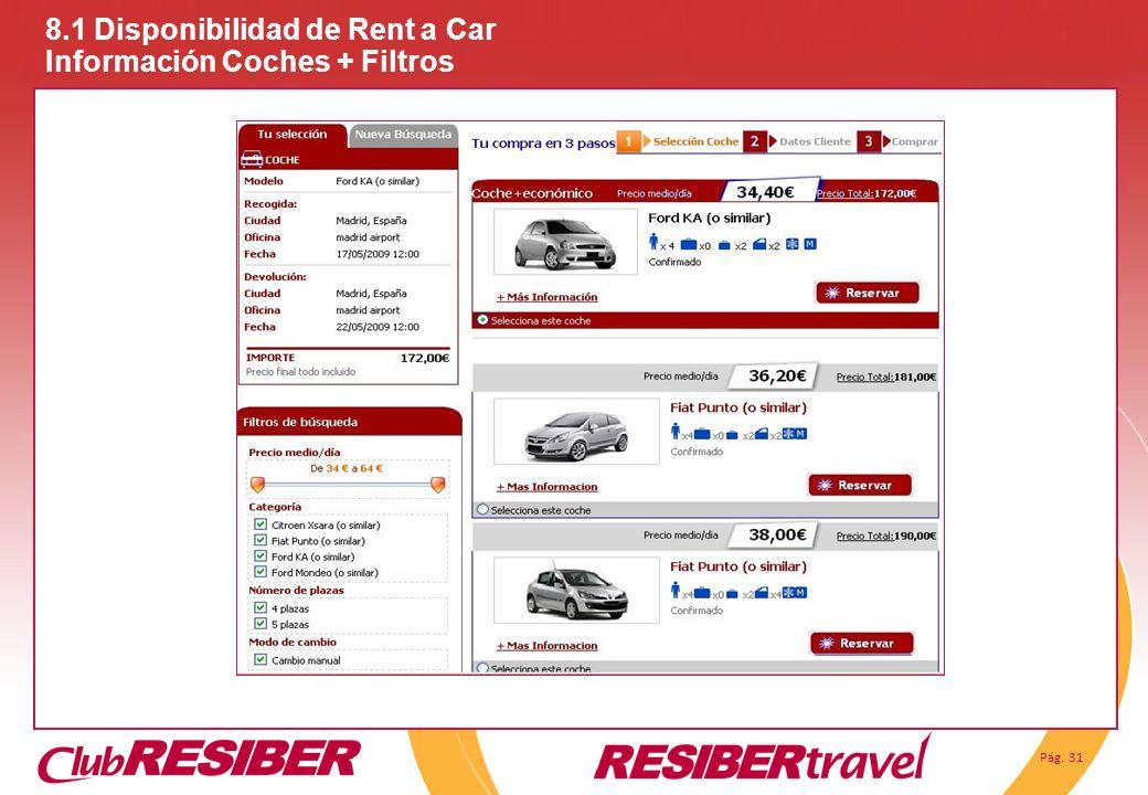 Pág. 31 8.1 Disponibilidad de Rent a Car Información Coches + Filtros