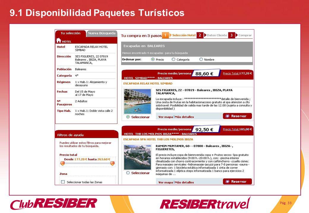 Pág. 33 9.1 Disponibilidad Paquetes Turísticos
