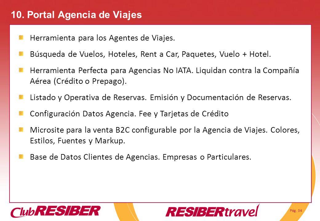Pág. 34 10. Portal Agencia de Viajes Herramienta para los Agentes de Viajes. Búsqueda de Vuelos, Hoteles, Rent a Car, Paquetes, Vuelo + Hotel. Herrami
