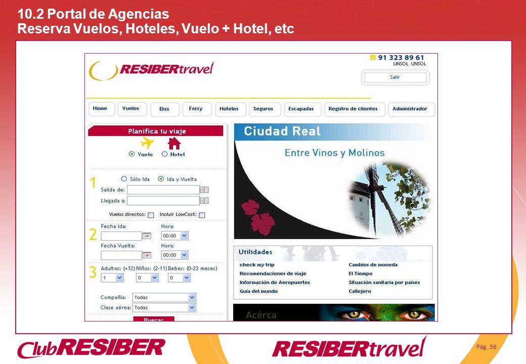 Pág. 36 10.2 Portal de Agencias Reserva Vuelos, Hoteles, Vuelo + Hotel, etc