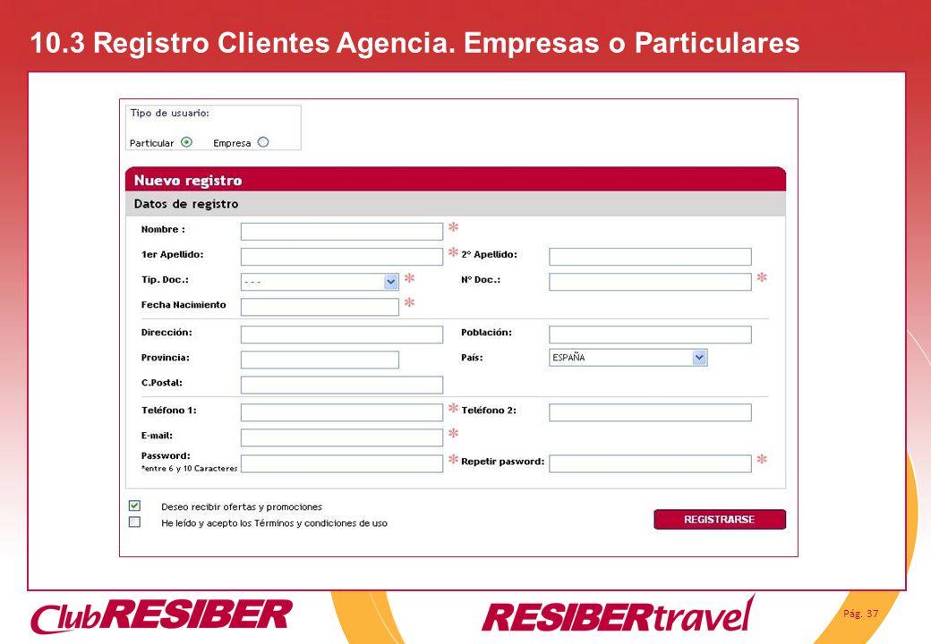 Pág. 37 10.3 Registro Clientes Agencia. Empresas o Particulares