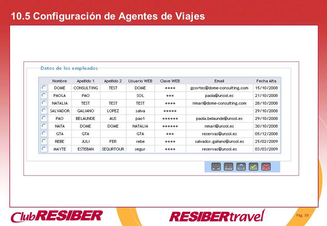 Pág. 39 10.5 Configuración de Agentes de Viajes