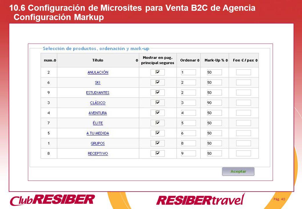 Pág. 40 10.6 Configuración de Microsites para Venta B2C de Agencia Configuración Markup