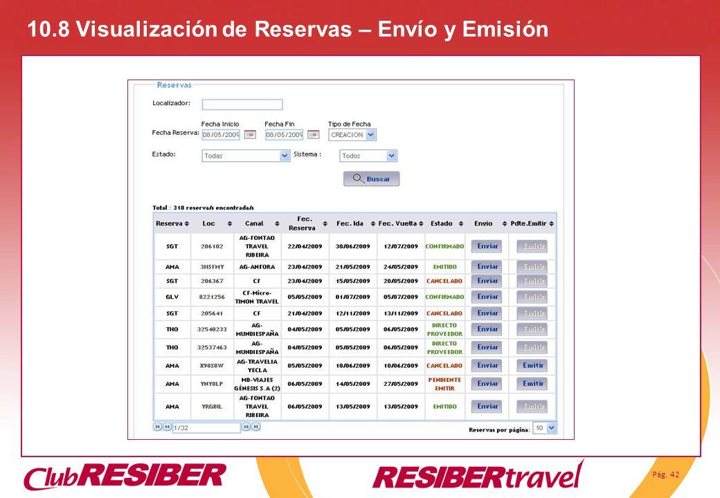 Pág. 42 10.8 Visualización de Reservas – Envío y Emisión