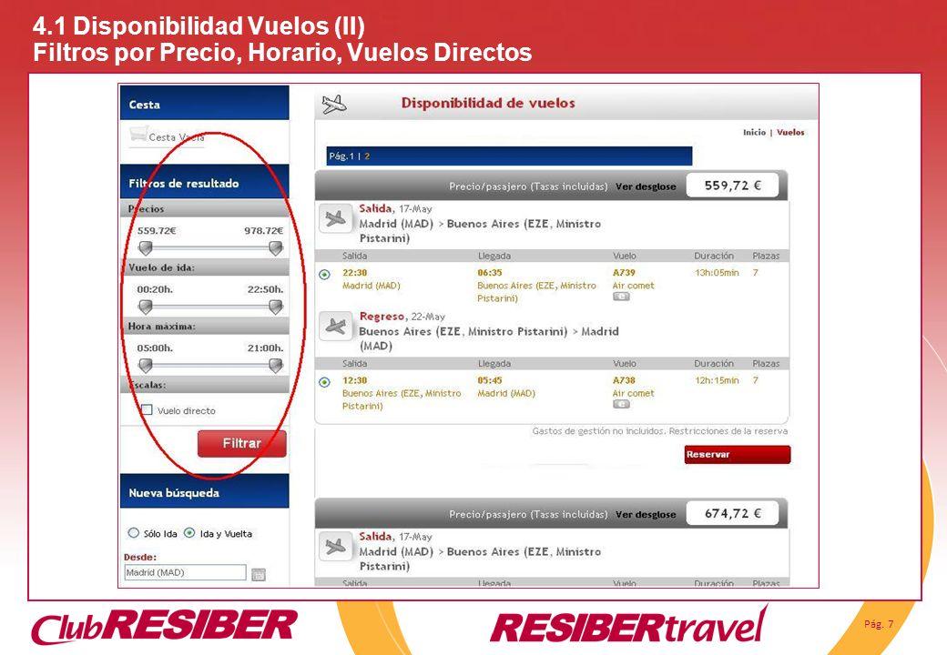 Pág. 7 4.1 Disponibilidad Vuelos (II) Filtros por Precio, Horario, Vuelos Directos