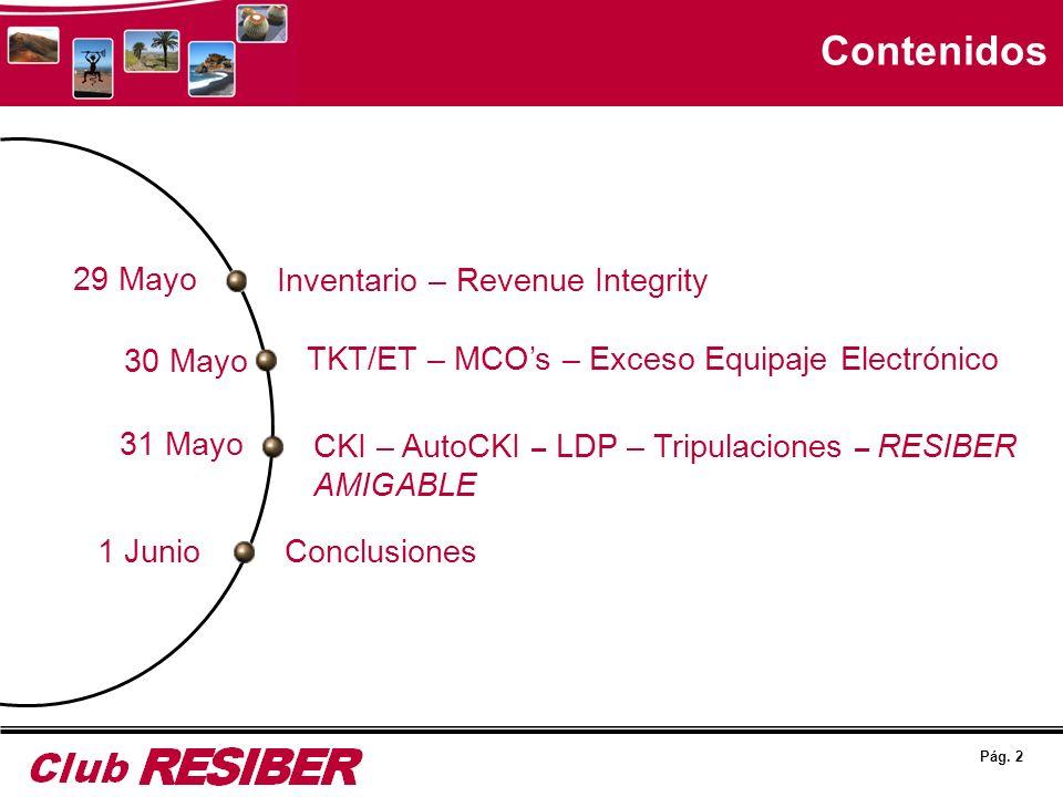Pág. 2 Contenidos Inventario – Revenue Integrity TKT/ET – MCOs – Exceso Equipaje Electrónico CKI – AutoCKI – LDP – Tripulaciones – RESIBER AMIGABLE Co