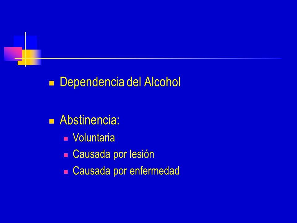 Dependencia del Alcohol Abstinencia: Voluntaria Causada por lesión Causada por enfermedad