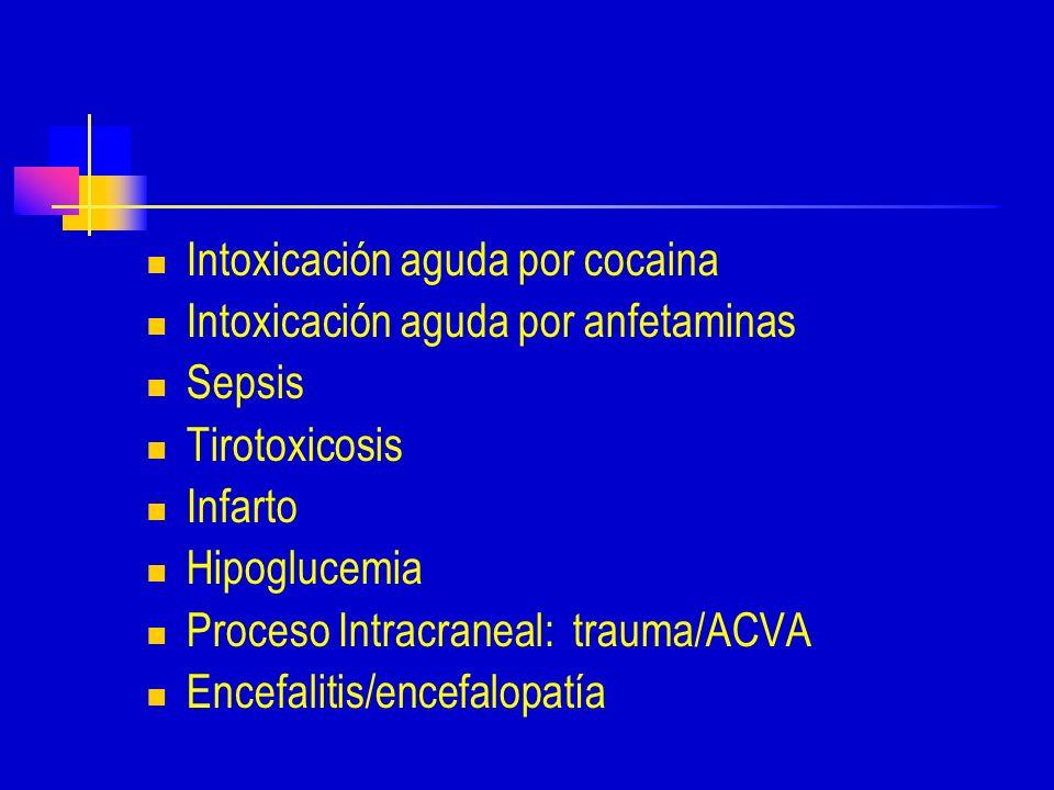 Intoxicación aguda por cocaina Intoxicación aguda por anfetaminas Sepsis Tirotoxicosis Infarto Hipoglucemia Proceso Intracraneal: trauma/ACVA Encefalitis/encefalopatía
