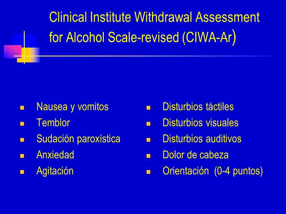 Clinical Institute Withdrawal Assessment for Alcohol Scale-revised (CIWA-Ar ) Nausea y vomitos Temblor Sudación paroxística Anxiedad Agitación Disturbios táctiles Disturbios visuales Disturbios auditivos Dolor de cabeza Orientación (0-4 puntos)