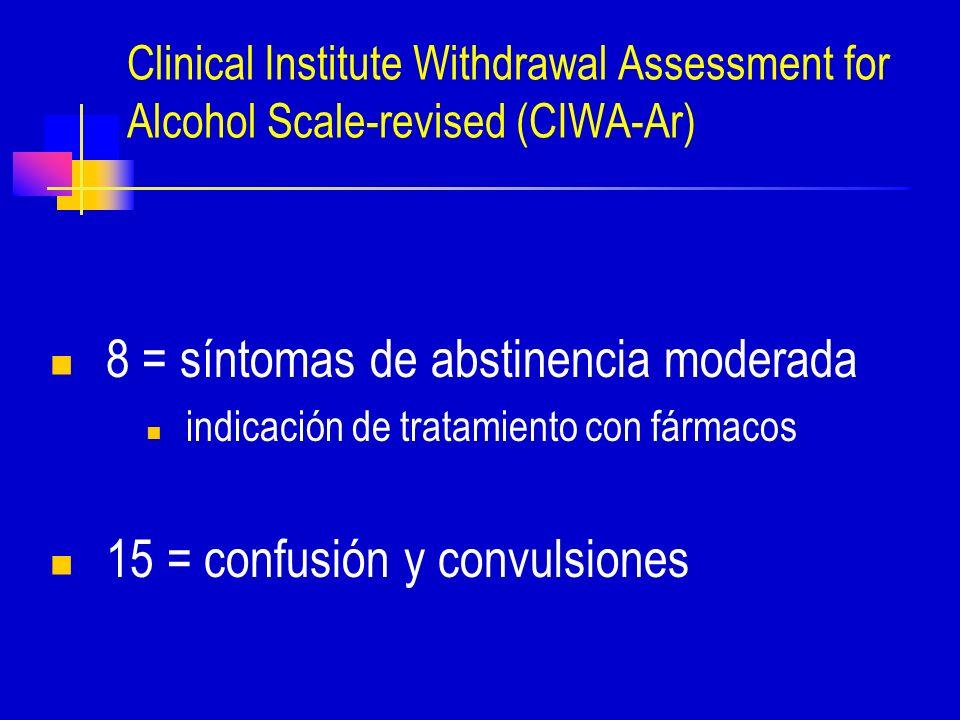 Clinical Institute Withdrawal Assessment for Alcohol Scale-revised (CIWA-Ar) 8 = síntomas de abstinencia moderada indicación de tratamiento con fármacos 15 = confusión y convulsiones