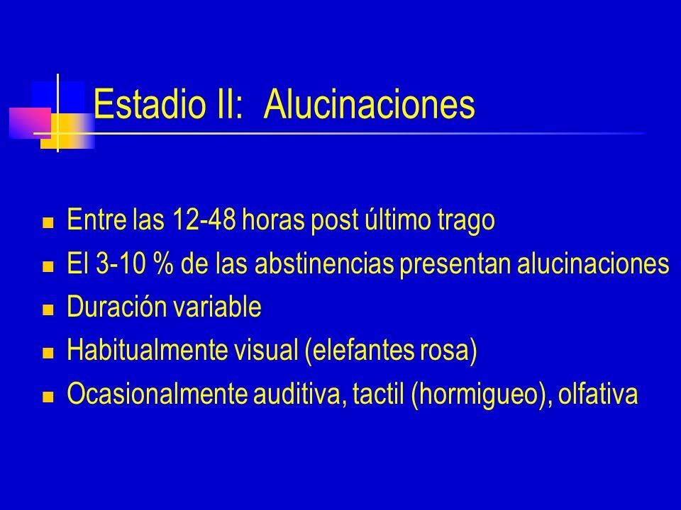 Estadio II: Alucinaciones Entre las 12-48 horas post último trago El 3-10 % de las abstinencias presentan alucinaciones Duración variable Habitualmente visual (elefantes rosa) Ocasionalmente auditiva, tactil (hormigueo), olfativa