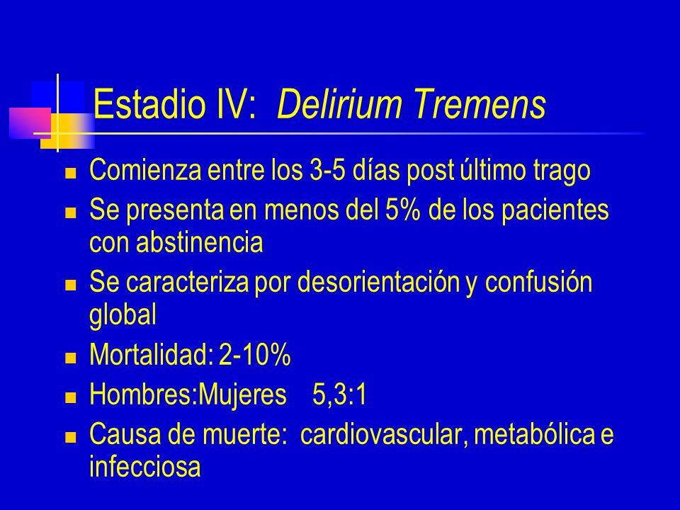Estadio IV: Delirium Tremens Comienza entre los 3-5 días post último trago Se presenta en menos del 5% de los pacientes con abstinencia Se caracteriza por desorientación y confusión global Mortalidad: 2-10% Hombres:Mujeres 5,3:1 Causa de muerte: cardiovascular, metabólica e infecciosa