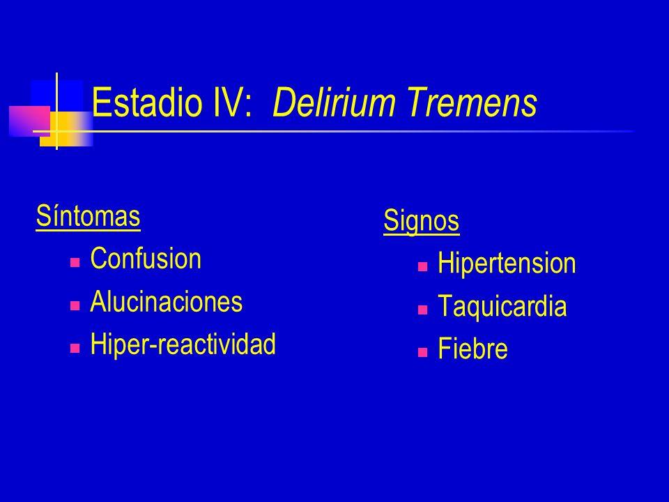 Estadio IV: Delirium Tremens Síntomas Confusion Alucinaciones Hiper-reactividad Signos Hipertension Taquicardia Fiebre