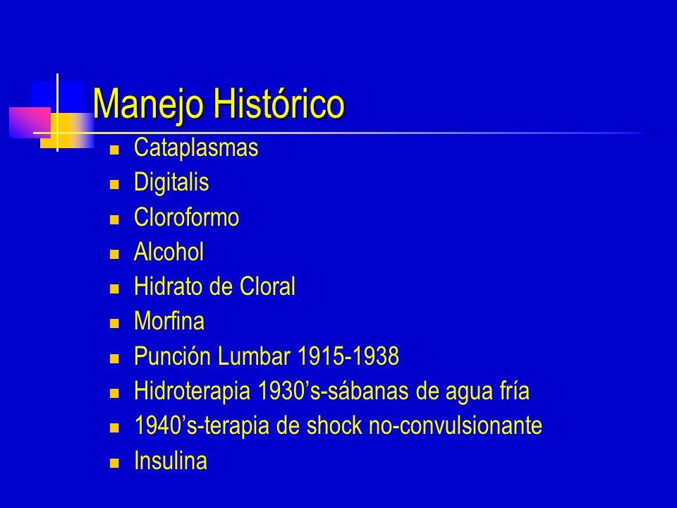 Manejo Histórico Cataplasmas Digitalis Cloroformo Alcohol Hidrato de Cloral Morfina Punción Lumbar 1915-1938 Hidroterapia 1930s-sábanas de agua fría 1940s-terapia de shock no-convulsionante Insulina