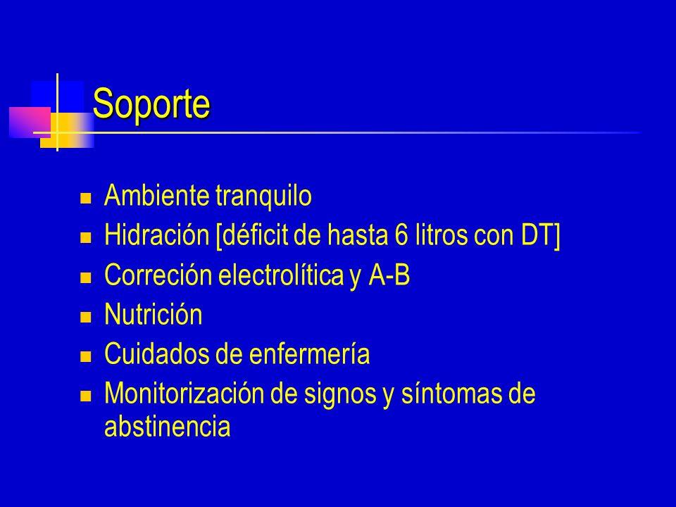 Soporte Ambiente tranquilo Hidración [déficit de hasta 6 litros con DT] Correción electrolítica y A-B Nutrición Cuidados de enfermería Monitorización de signos y síntomas de abstinencia