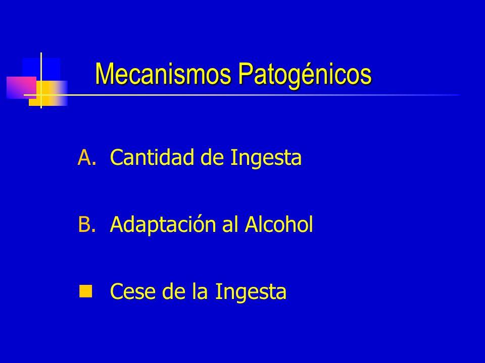 Mecanismos Patogénicos A.Cantidad de Ingesta B.Adaptación al Alcohol Cese de la Ingesta