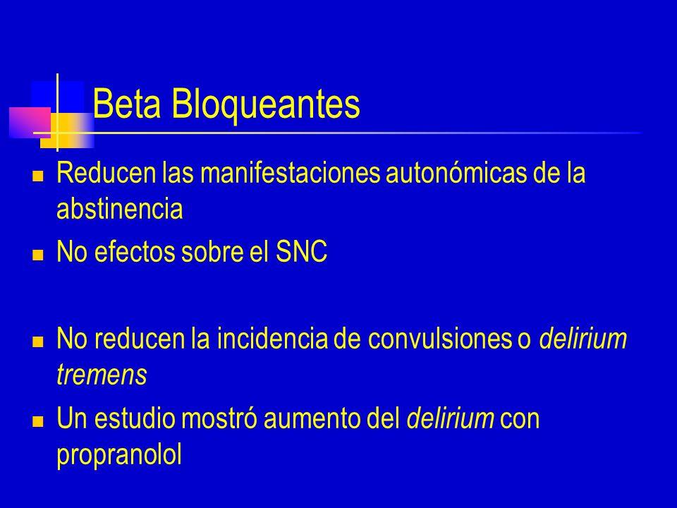 Beta Bloqueantes Reducen las manifestaciones autonómicas de la abstinencia No efectos sobre el SNC No reducen la incidencia de convulsiones o delirium tremens Un estudio mostró aumento del delirium con propranolol
