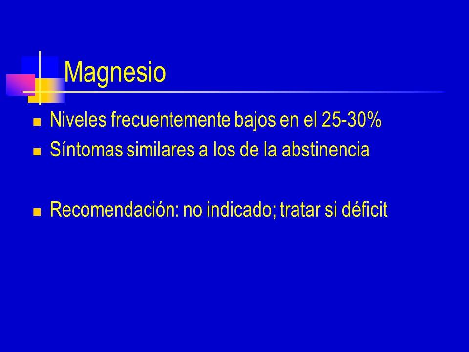 Magnesio Niveles frecuentemente bajos en el 25-30% Síntomas similares a los de la abstinencia Recomendación: no indicado; tratar si déficit