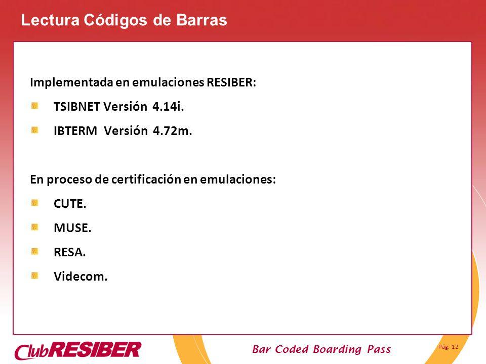 Pág. 12 Bar Coded Boarding Pass Implementada en emulaciones RESIBER: TSIBNET Versión 4.14i. IBTERM Versión 4.72m. En proceso de certificación en emula