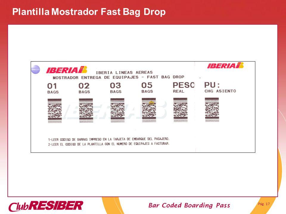 Pág. 17 Bar Coded Boarding Pass Plantilla Mostrador Fast Bag Drop