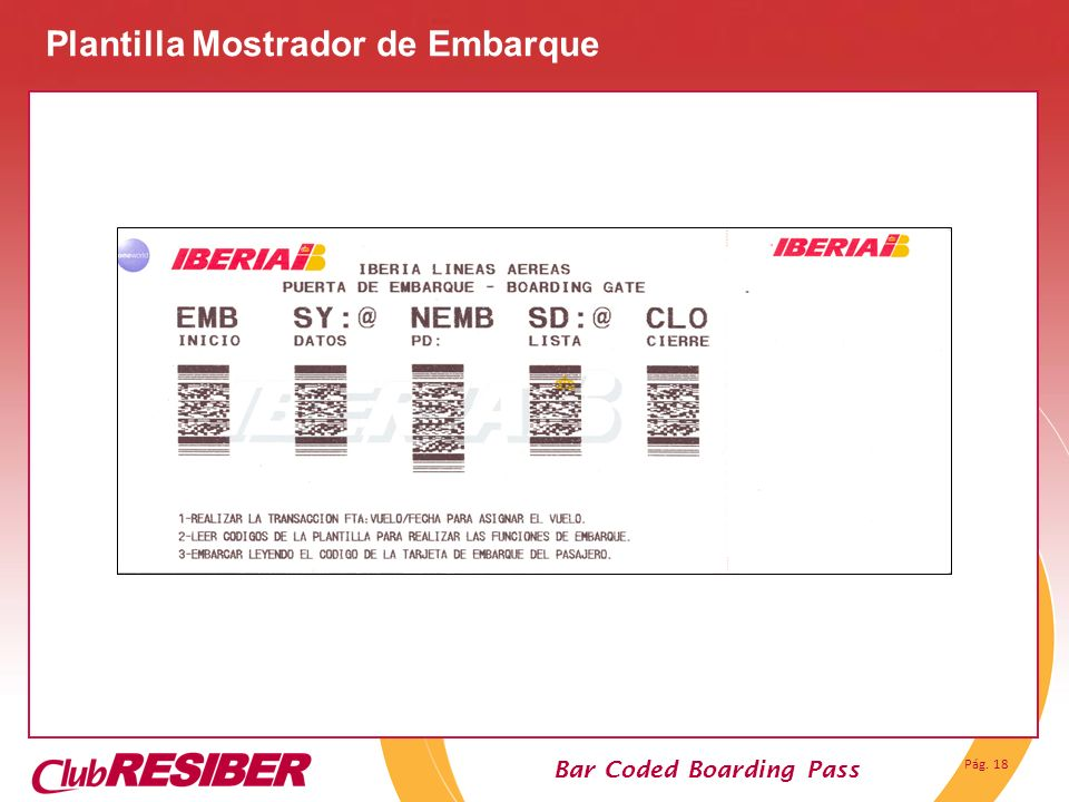 Pág. 18 Bar Coded Boarding Pass Plantilla Mostrador de Embarque
