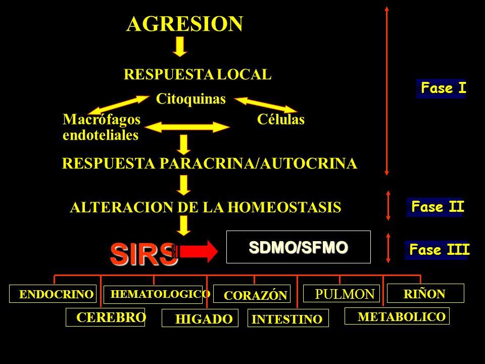 AGRESION RESPUESTA LOCAL Citoquinas Macrófagos Células endoteliales RESPUESTA PARACRINA/AUTOCRINA ALTERACION DE LA HOMEOSTASIS SIRS ENDOCRINO HEMATOLO