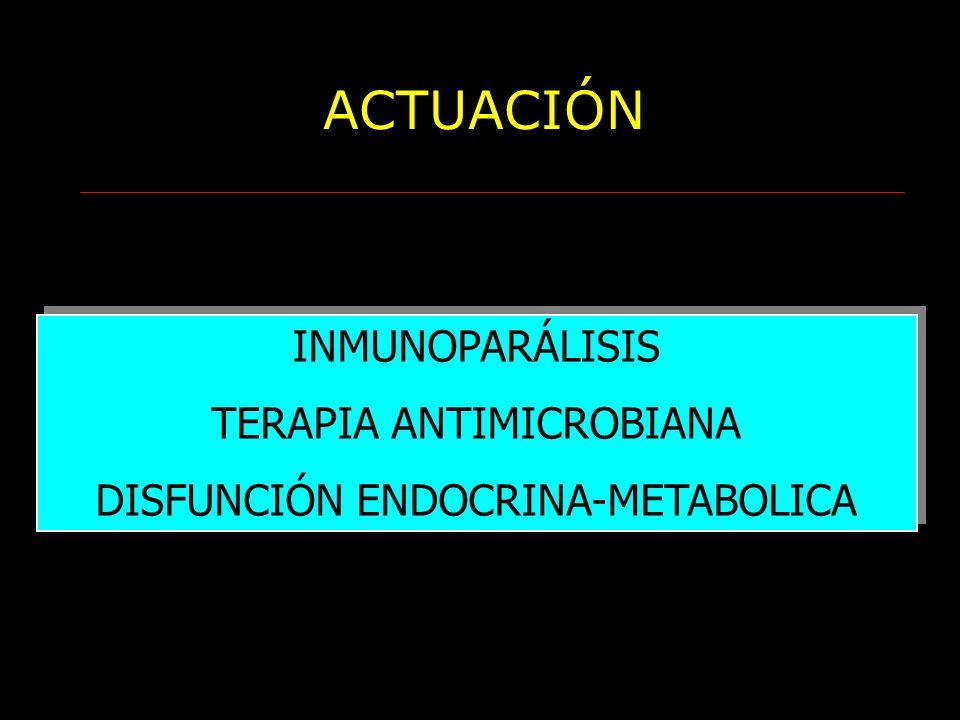 ACTUACIÓN INMUNOPARÁLISIS TERAPIA ANTIMICROBIANA DISFUNCIÓN ENDOCRINA-METABOLICA INMUNOPARÁLISIS TERAPIA ANTIMICROBIANA DISFUNCIÓN ENDOCRINA-METABOLIC
