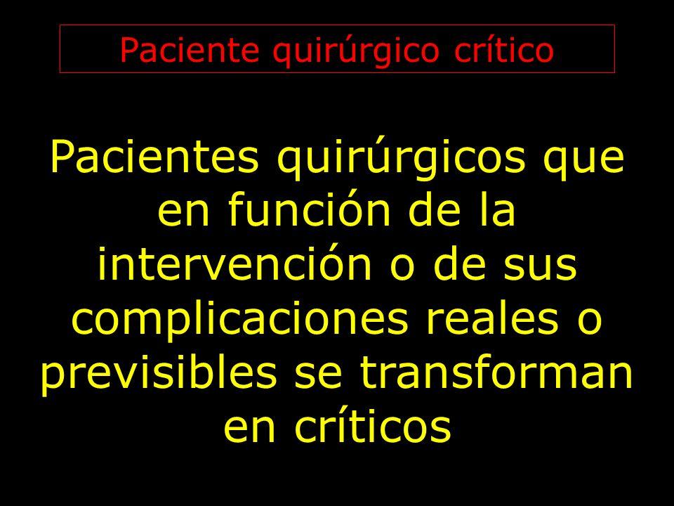 Paciente quirúrgico crítico Pacientes quirúrgicos que en función de la intervención o de sus complicaciones reales o previsibles se transforman en crí