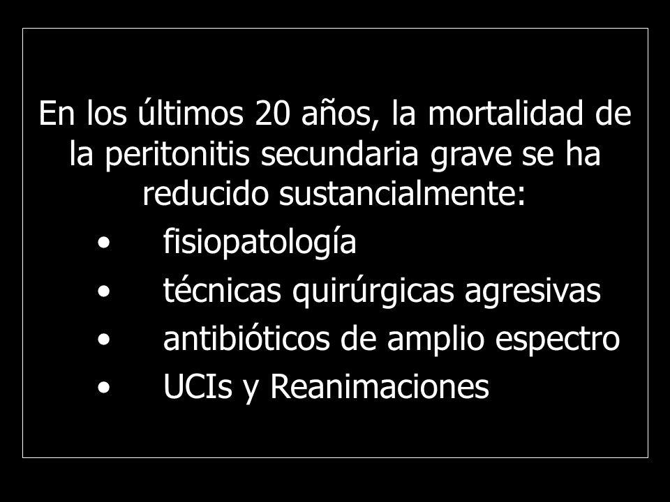 Se define como peritonitis secundaria a la infección de la cavidad peritoneal causada por perforación o disrupción anastomótica del tracto digestivo La terapia es primariamente quirúrgica y en la mayoría de los casos (> 80 %) la infección es eliminada